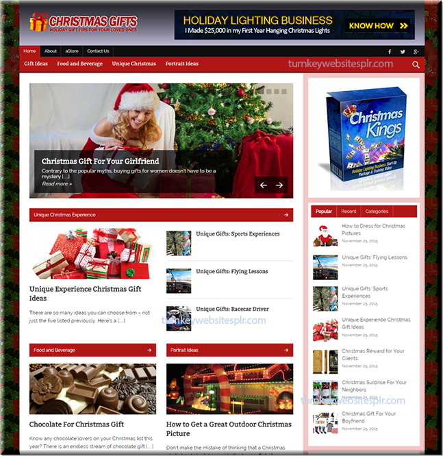Christmas Gifts Turnkey Website