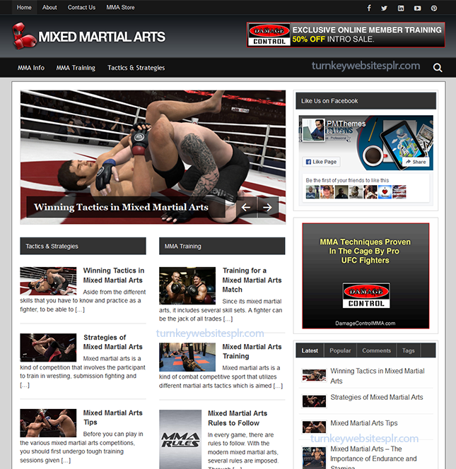 Mixed Martial Arts Turnkey Website
